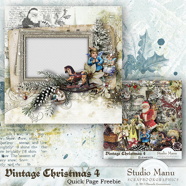 Vintage Christmas 4 -  Quick Page Freebie