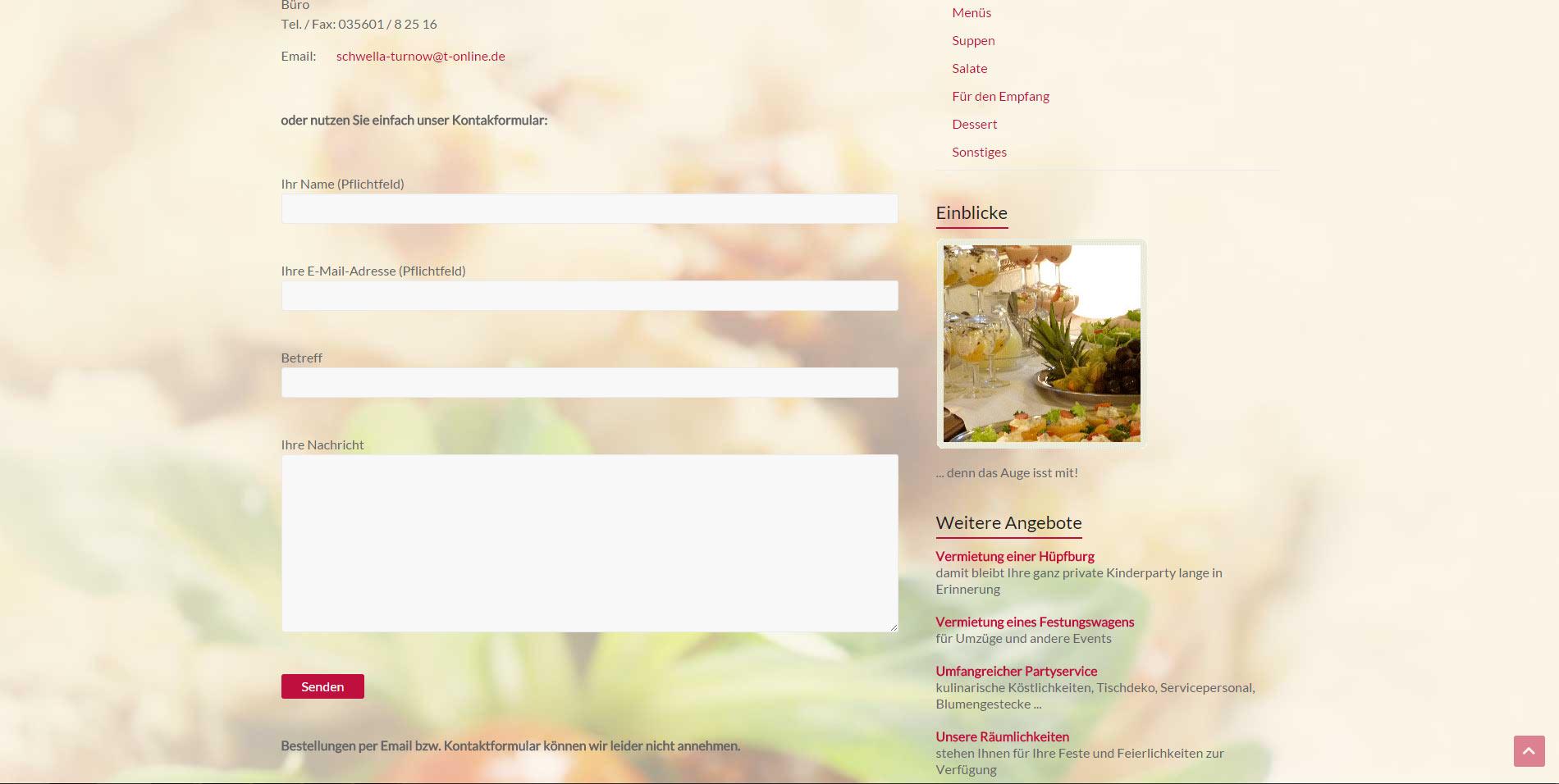 Webdesign Fleischerei & Partyservice Cottbus Peitz