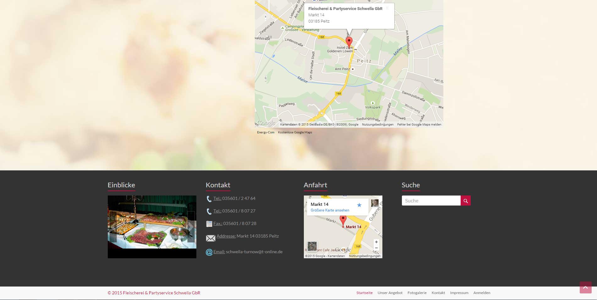 Webdesign Fleischerei & Partyservice Cottbus Peitz Footer