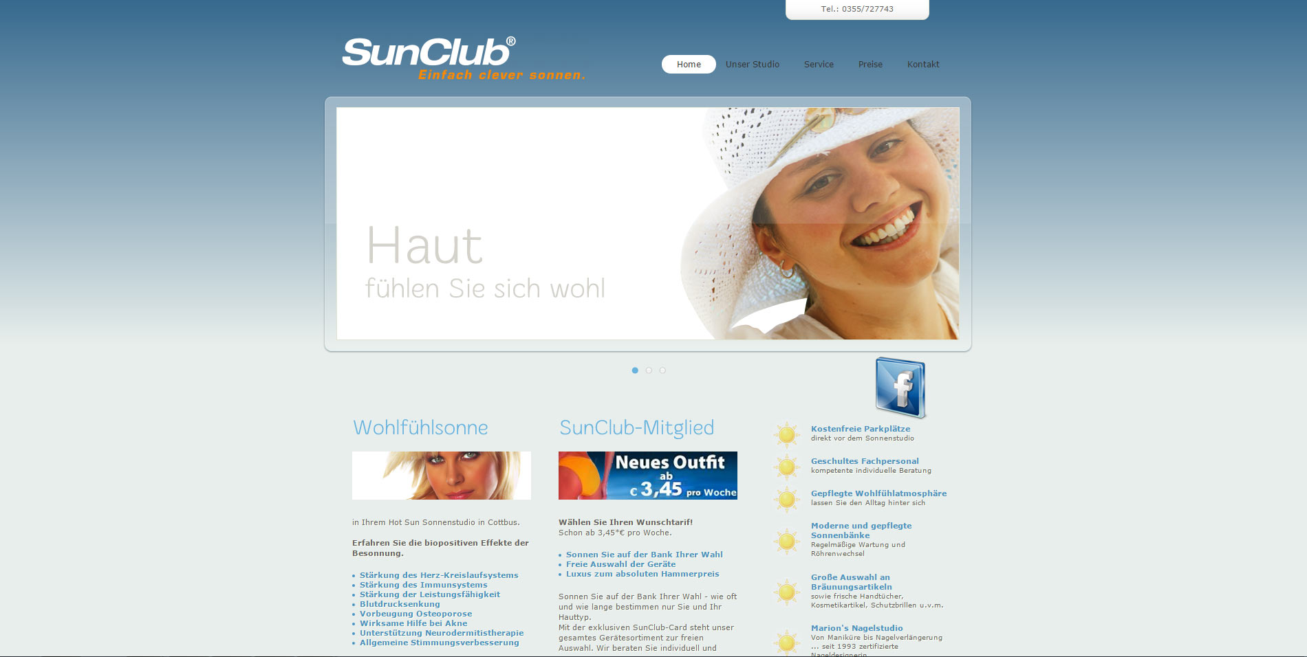 Webdesign Tanning Salon HotSun